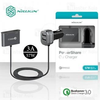 شارژر فندکی فست شارژ نیلکین Nillkin NKC05 power share QC3.0 car charger چهار پورت