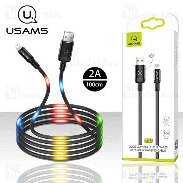 کابل لایتنینگ یوسمز USAMS SJ261 U16 Voice Control LED دارای رقص نور