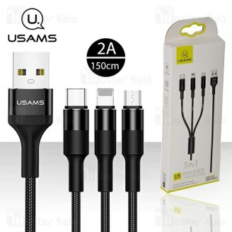 کابل سه سر یوسمز Usams SJ2193 U5 Braided Charging Cable به طول 1.5 متر