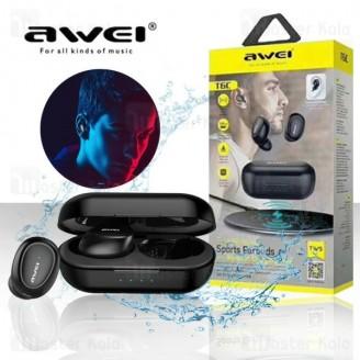 هندزفری بلوتوث دو تایی اوی AWEI T6C Bluetooth Earphone به همراه داک شارژ