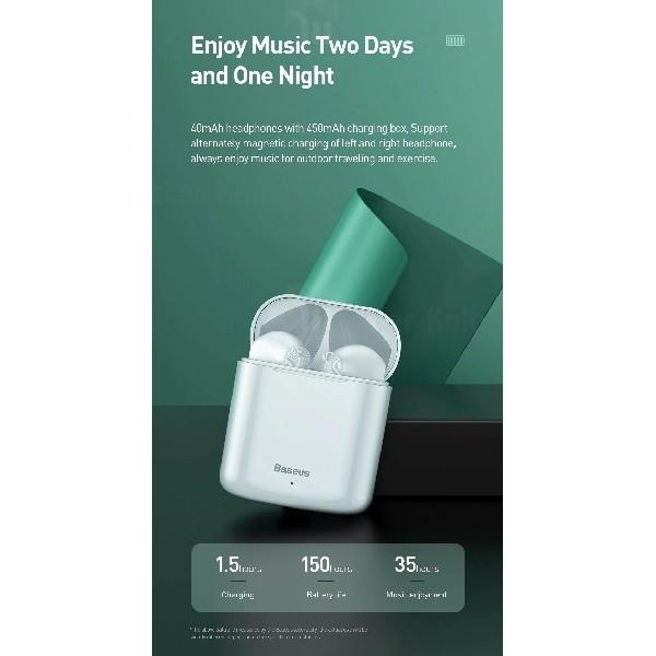 هدست بلوتوث دوتایی بیسوس Baseus W09 Encok Wireless Earphones برای آیفون و اندروید