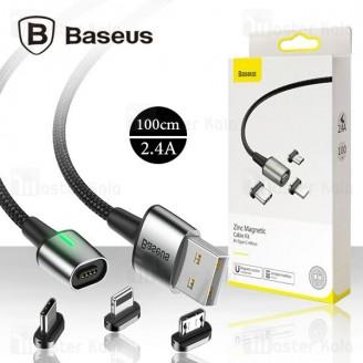 کابل مگنتی سه سر بیسوس Baseus Zinc Magnetic Cable Kit TZCAXC-A01 توان 2.4 آمپر