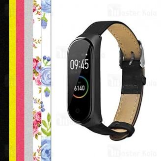 بند چرمی اکلیلی طرح دار دستبند سلامتی شیائومی Xiaomi Mi Band 3 / 4 Leather Strap