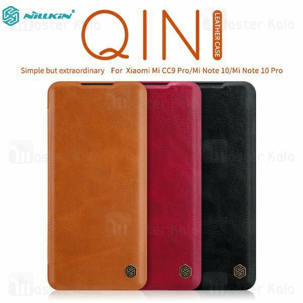 کیف چرمی نیلکین شیائومی Xiaomi Mi CC9 Pro / Note 10 / Note 10 Pro Nillkin Qin Leather Case