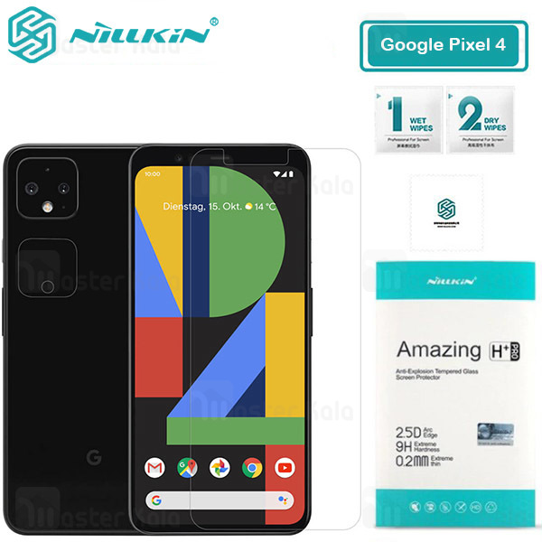 محافظ صفحه شیشه ای نیلکین گوگل Google Pixel 4 Nillkin H+ Pro + محافظ لنز...