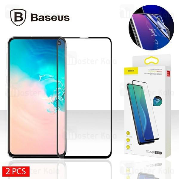 پک 2 تایی محافظ نانو تمام صفحه خمیده بیسوس سامسونگ Samsung Galaxy S10 Baseus SGSAS10-KR01