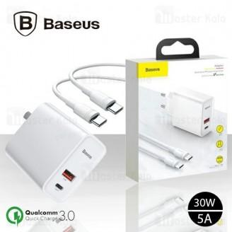 شارژر دیواری دو پورت Baseus Speedy PPS QC3.0 5A Charger 30W CCFS-A02 دارای کابل شارژ