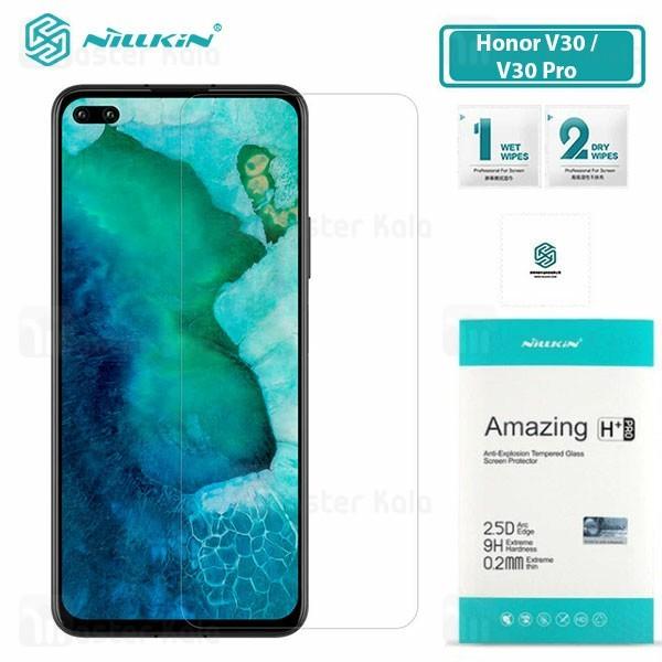 محافظ صفحه شیشه ای نیلکین هواوی Huawei Honor V30 / V30 Pro Nillkin H+ Pro + محافظ لنز