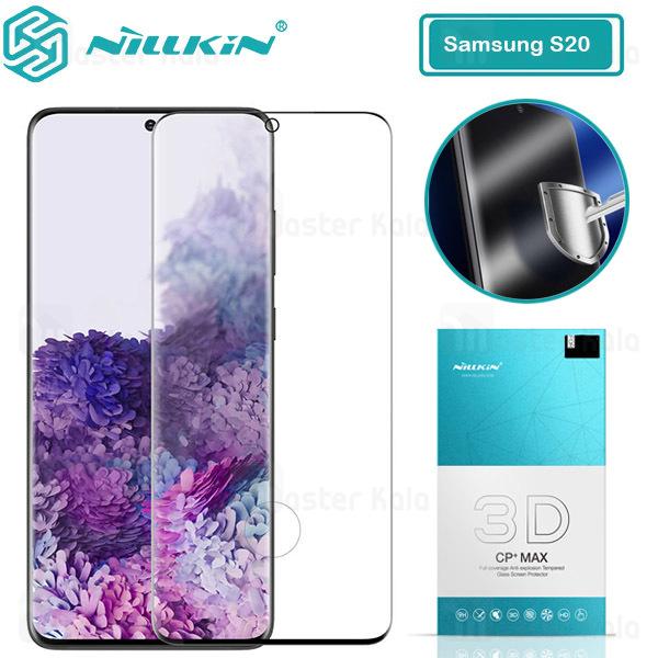 محافظ صفحه شیشه ای دورچسب تمام صفحه نیلکین Samsung Galaxy S20 3D CP+ Max