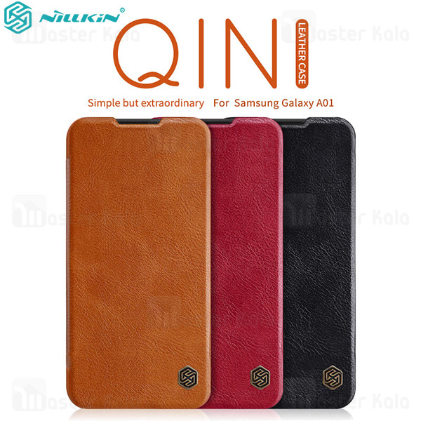 کیف چرمی نیلکین سامسونگ Samsung Galaxy A01 / A015 Nillkin Qin Leather Case