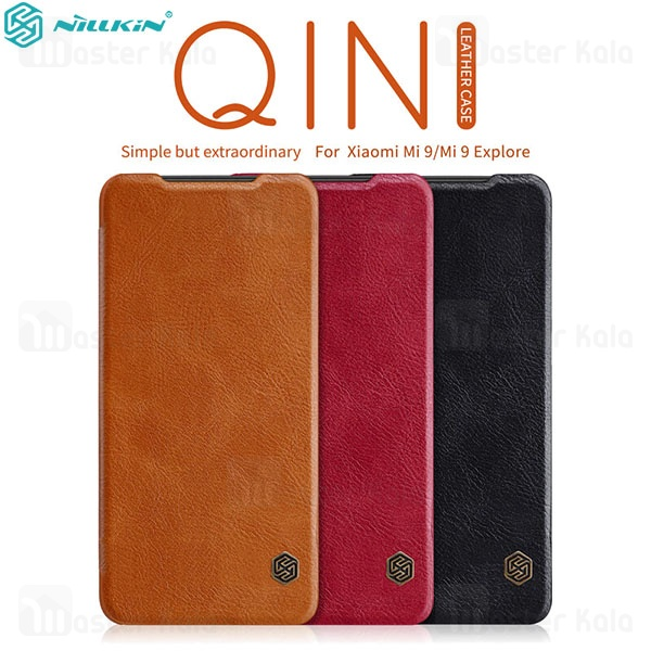 کیف چرمی نیلکین شیائومی  Xiaomi Mi 9 / Mi 9 Explorer Nillkin Qin Leather Case