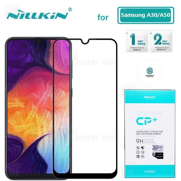 محافظ صفحه شیشه ای تمام صفحه تمام چسب نیلکین سامسونگ Samsung Galaxy A20/A30/ A50 Nillkin CP+ Glass