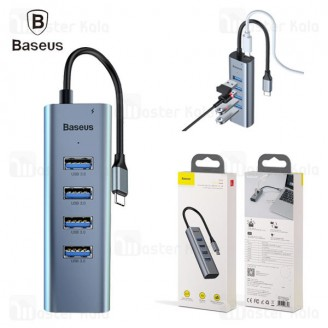 تبدیل Type-C به USB بیسوس Baseus Type-C to USB3x4+PD HUB adapter CAHUB-Q0G دارای 4 پورت