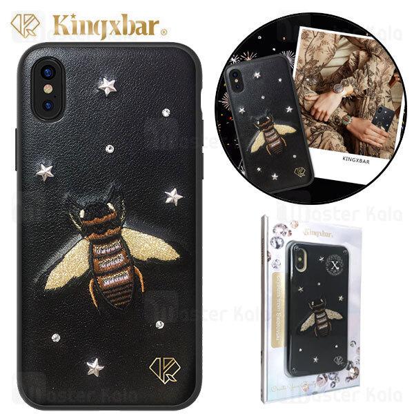قاب چرمی آیفون Apple iPhone X / XS Kingxbar Swarovski Insect Series Bee