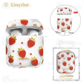 کاور ایرپاد Apple Airpods 1 / 2 Kingxbar Swarovski Fresh Series Strawberry