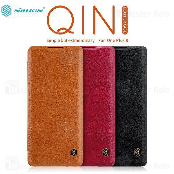 کیف چرمی نیلکین وان پلاس OnePlus 8 Nillkin Qin Leather Case