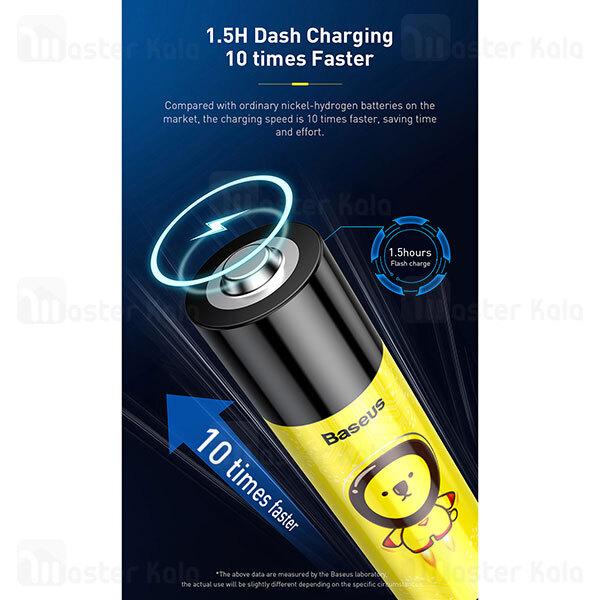 پک 2 عددی باتری قلمی شارژی بیسوس Baseus AA Rechargeable Li-ion Battery 2100mWh ACCB-A2L دارای پورت