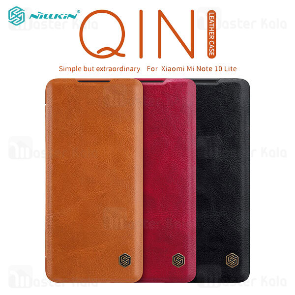 کیف چرمی نیلکین شیائومی Xiaomi Mi Note 10 Lite Nillkin Qin Leather Case