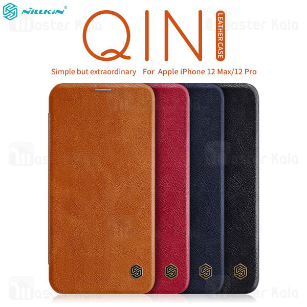 کیف چرمی نیلکین آیفون Apple iPhone 12 Pro / iPhone 12 Nillkin Qin Leather Case