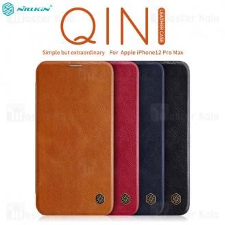 کیف چرمی نیلکین آیفون Apple iPhone 12 Pro max Nillkin Qin Leather Case