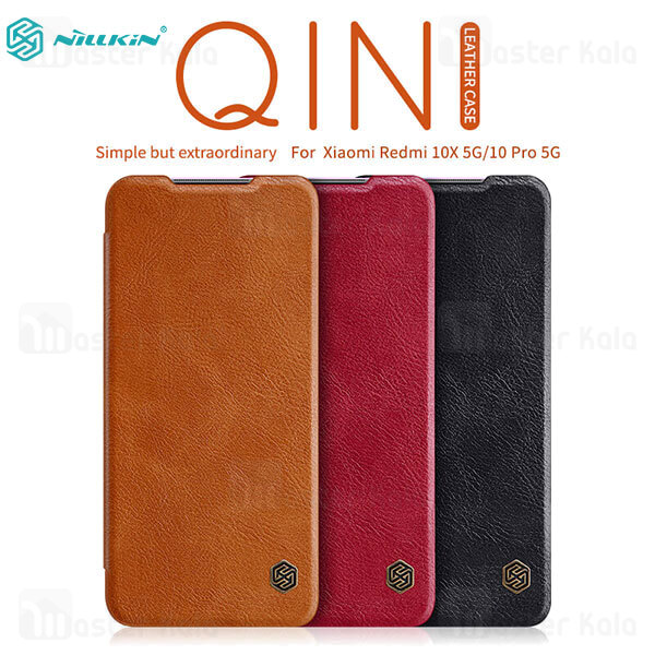 کیف چرمی نیلکین شیائومی Xiaomi Redmi 10X 5G / Redmi 10X Pro Nillkin Qin Leather Case
