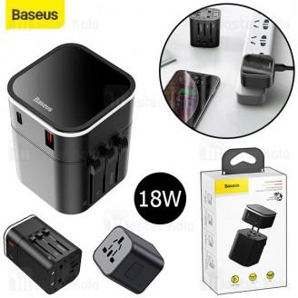 آداپتور دو پورت و مبدل برق چندکاره بیسوس Baseus Removable 2 in 1 Universal Adapter PPS TZPPS-01