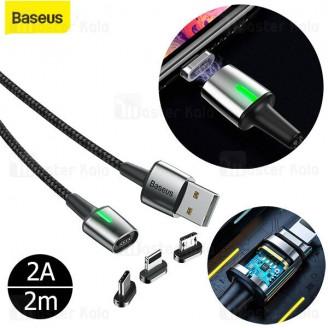 کابل مگنتی سه سر بیسوس Baseus Zinc Magnetic Kit TZCAXC-B01 توان 2 آمپر طول 2 متر پک کیسه ای