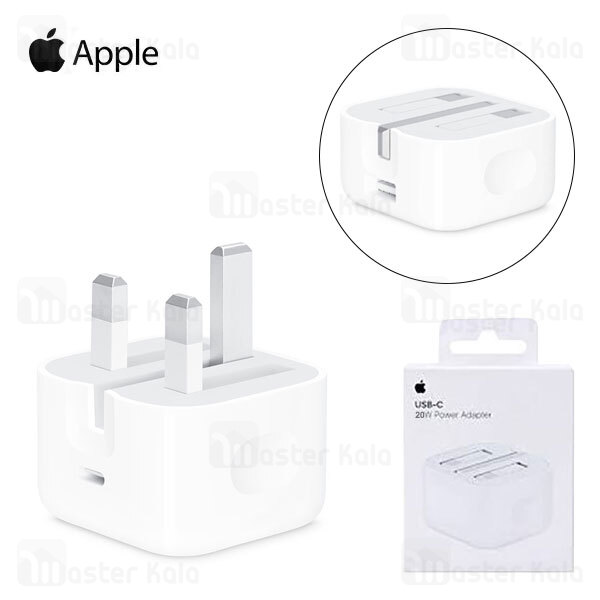 آداپتور شارژر اصلی اپل Apple A2344 MHJF3ZP Charger 20W Type C for iPhone 12 Series AE توان 20 وات