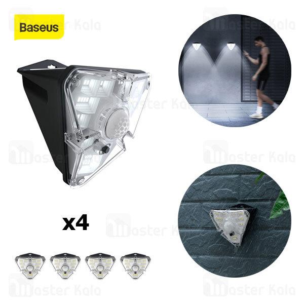 پک 4تایی چراغ دیواری بیسوس Baseus Energy Collection Solar Body Sensor Wall Lamp DGNEN-B01 سنسور حرکت