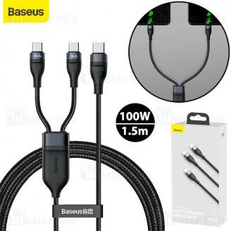 کابل دو کاره Type C به Type C فست شارژ Baseus Flash CA1T2-C01 / C06 طول 1.5 متر توان 100 وات