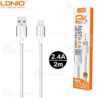 کابل میکرو یو اس بی الدینیو LDNIO LS392 Cable طول 2 متر توان 2.4 آمپر