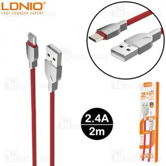 کابل Type C الدینیو LDNIO LS412 Cable طول 2 متر توان 2.4 آمپر