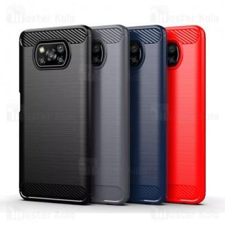 قاب محافظ ژله ای شیائومی Xiaomi Poco X3 / Poco X3 NFC / Poco X3 Pro Rugged Armor Fiber Carbon