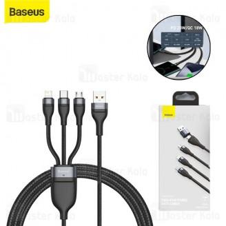 کابل سه سر بیسوس Baseus Flash Series 2 for 3 Data Cable CA2T3-01 USB/Type-C توان 100w طول 1.2 متر