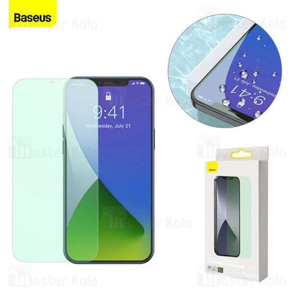 پک 2 تایی محافظ صفحه شیشه ای ضد اشعه Baseus SGAPIPH61P-LP02 Apple iPhone 12 / 12 Pro Green Glass