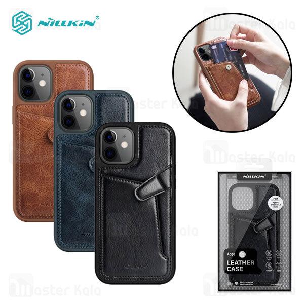 قاب چرمی نیلکین آیفون Apple iPhone 12 Mini Nillkin Aoge Leather Cover Case