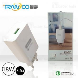 شارژر دیواری فست شارژ QC 3.0 ترانیو Tranyoo SE4 توان 3.6 آمپر با کابل همراه