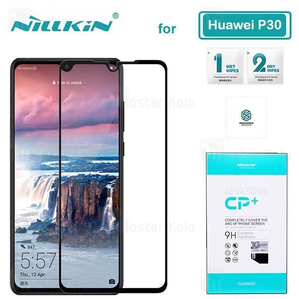 محافظ صفحه شیشه ای تمام صفحه تمام چسب نیلکین هواوی Huawei P30 Nillkin CP+ Glass