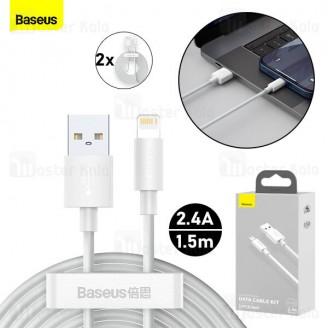 پک 2تایی کابل لایتنینگ بیسوس Baseus Simple Wisdom Kit TZCALZJ-02 طول 1.5 متر توان 2.4 آمپر