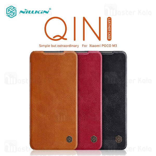 کیف چرمی نیلکین شیائومی Xiaomi Poco M3 Nillkin Qin Leather Case