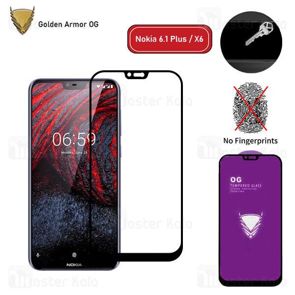 محافظ صفحه شیشه ای تمام صفحه تمام چسب OG نوکیا Nokia 6.1 Plus / X6 OG 2.5D Glass