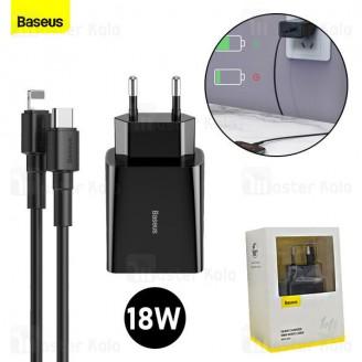 شارژر دیواری بیسوس Baseus Speed Mini PD Single 18W TZCCFS-F01 با کابل Type C به لایتنینگ