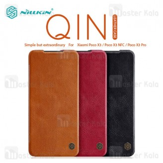 کیف چرمی نیلکین شیائومی Xiaomi Poco X3 Pro / Poco X3 NFC / Poco X3 Nillkin Qin Leather Case