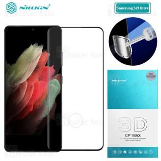 محافظ صفحه شیشه ای دورچسب تمام صفحه نیلکین سامسونگ Samsung Galaxy S21 Ultra 3D CP+ Max
