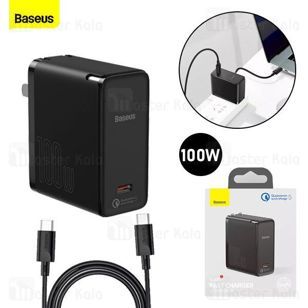 شارژر دیواری فست شارژ بیسوس Baseus GaN2 QC5.0 PD3.0 Fast Charger 1C 100W TZCCGAN-K01 CN همراه کابل