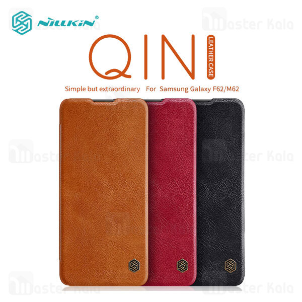 کیف چرمی نیلکین سامسونگ Samsung Galaxy M62 / F62 Nillkin Qin Leather Case