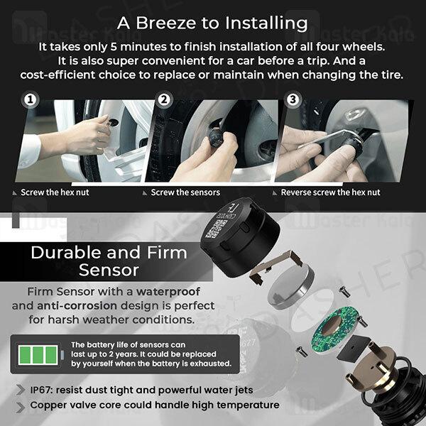 سنسور فشار باد و دمای لاستیک شیائومی Xiaomi 70Mai Midrive T02 Tire Pressure Monitoring System Lite