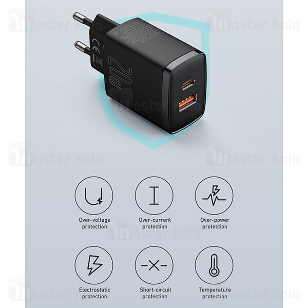 شارژر دیواری فست شارژ بیسوس Baseus Compact Quick Charger U+C PD QC CCCP20UE CCXJ-B01 EU توان 20 وات