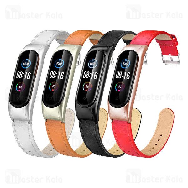 بند چرمی دستبند سلامتی شیائومی Xiaomi Mi Band 5 / 6 Leather Strap