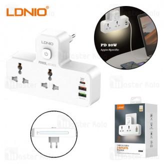 چند راهی برق و شارژر الدینیو LDNIO SC2311 QC3.0 PD3.0 Power Strip دارای 2 پورت USB یک پورت Type C